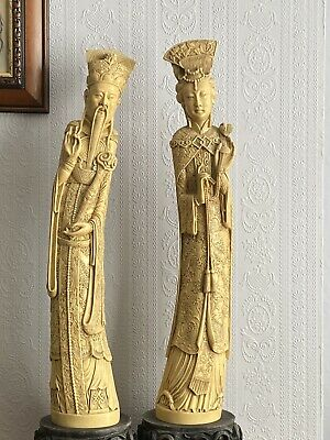 Vintage Carved Oriental Figures Exquisite Detail Huge And Heavy