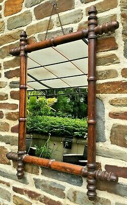 ANTIQUE Faux bamboo MIRROR FRENCH Vintage Wall Mirror wooden oak FRAME 58 cm