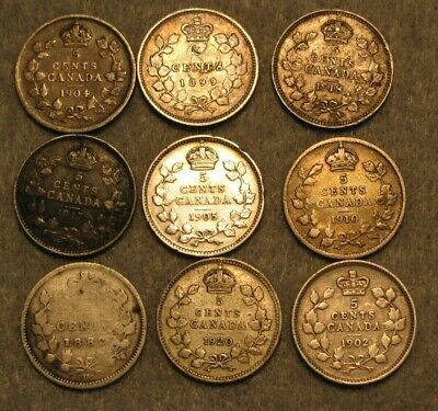 9 Piece Canada Five 5 Cent Silver Coin Lot 1882-1920 * Canadian Coin Lot