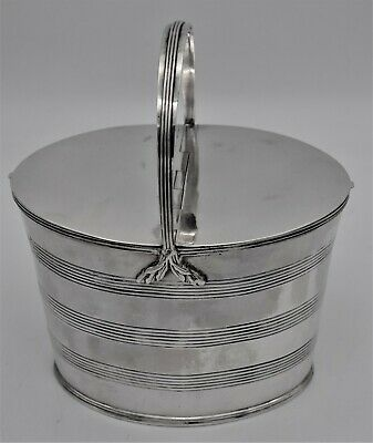 GEO III Sterling silver DOUBLE TEA CADDY - BARREL FORM, William Fountain 1798