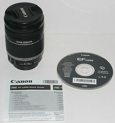 Canon EF-S 18-200mm f/3.5-5.6 IS lens in excellent condition (+ manual & disc)