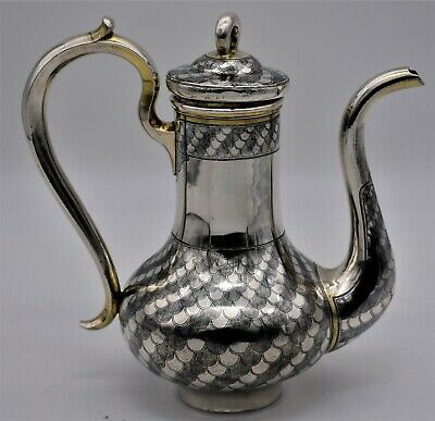 Very rare RUSSIAN solid SILVER and NIELLO COFFEE POT, Moscow 1867, OV maker
