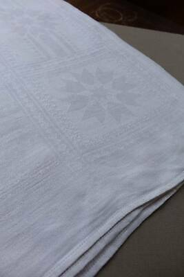 "Vintage white Irish linen damask tablecloth. Stars & Diamonds.66"" x 58"""