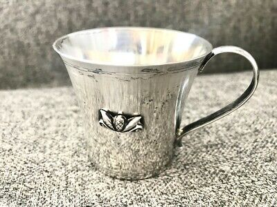 Antique Georg Jensen Sterling Silver Child/Christening Cup w/ Embossed Acorn