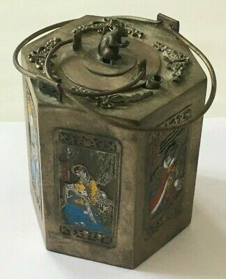Antique Japanese Chinese Hexagonal Miniature Teapot With Squirrel