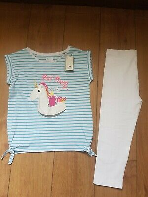 Girls Unicorn Summer Outfit Top and Crop Leggings New Age 11 to 12 yrs