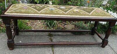 Antique Oak Early Twentieth Century Embroidered Window _ Foot Stool