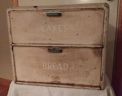 Vtg Cake Bread Box Metal Sign Old Paint French Country Cottage Chic Home Decor
