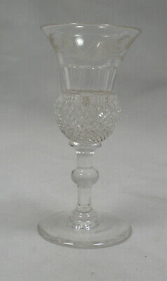 A crystal thistle shaped glass engraved with thistles, English c.1910