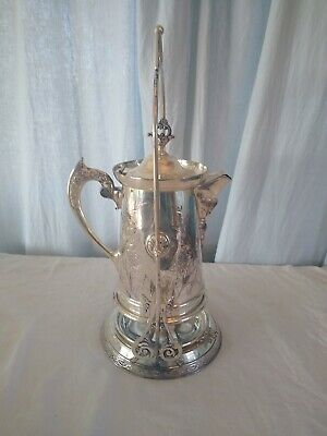 Antique Silver Plate Tilting Pitcher Water Coffee Tea Ornate 1897