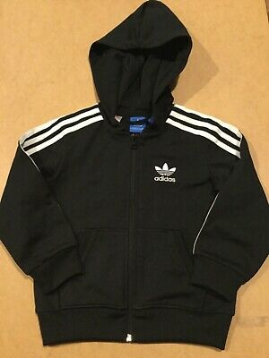 Boys Adidas Black tracksuit top with back logo aged 5-6 years