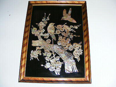 Vintage Mother Of  Pearl  Iridescent Bird Oriental Style  Picture Frame & Glazed