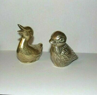 Small Vintage Solid Brass Duck & Bird Figurine Paper Weight Collectible Set Of 2
