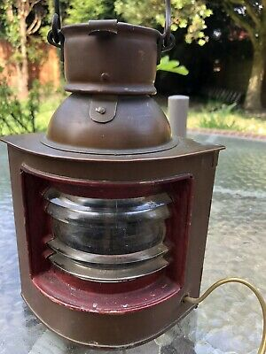 Vintage copy Copper and brass ships lantern electric