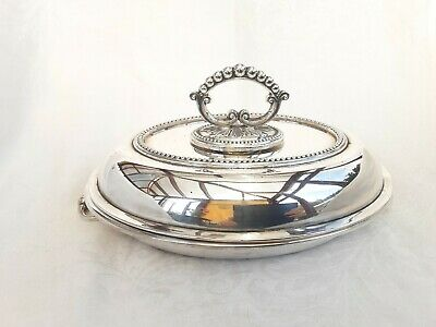 SPLENDID SILVER PLATED ENTREE DISH WITH GLASS LINER - Raeno Silver Plate Co