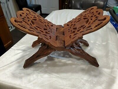 Vintage Carved Wood Folding Book Bible Cookbook Stand Holder