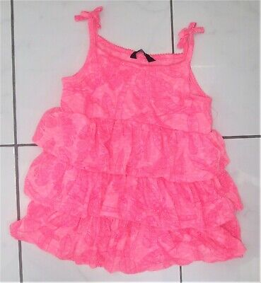 George Girls Neon Pink Tiered Summer Top ~ Age 5 - 6 Years ~ Vgc