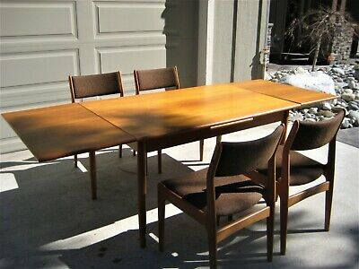 Vintage Scandinavian Extendable Teak Dining Table 4 Chairs Mid Century Modernism