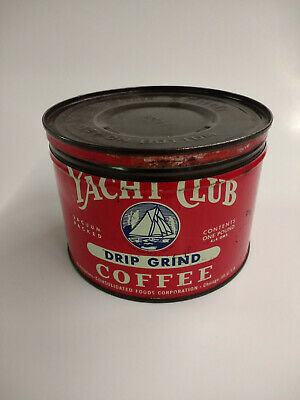 Vintage Yacht Club Drip Grind Coffee 1Lb Can Chicago, Ill.