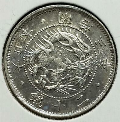 Japan 20 Sen Meiji 3 (1870) Almost Uncirculated, Shallow Scales, .1286 Oz Silver