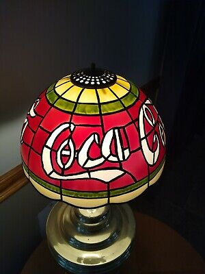 """VTG Rare Coca-Cola Stained Glass Tiffany Style Plastic Lamp Shade 10"""""""