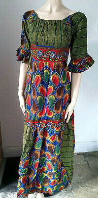 Handmade Traditional African Ankara Gown Long Dress Empire Fit & Flare maxi XS S