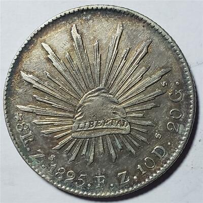 Mexico, 8 Reales, 1895 ZsFZ, Almost Uncirculated, Hairlines, .7859 Ounce Silver