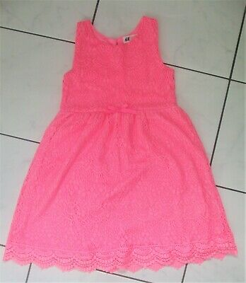 H&M Bright Neon Pink Lace Dress ~ Age 7 - 8 Years ~ Vgc