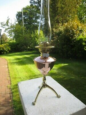 Superb Antique Copper & Brass Duplex Oil Lamp Was Benson