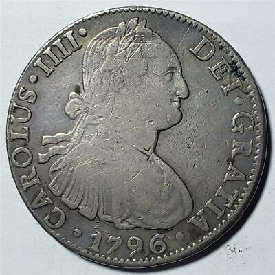 Mexico, 8 Reales, 1796 FM, Fine-VF, Some Scratches, .7797 Ounce Silver