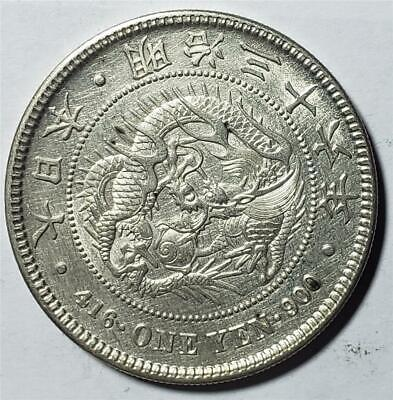 Japan, Yen, Meiji 36 (1895), Almost Uncirculated, Cleaned, Dragon, .78 Silver