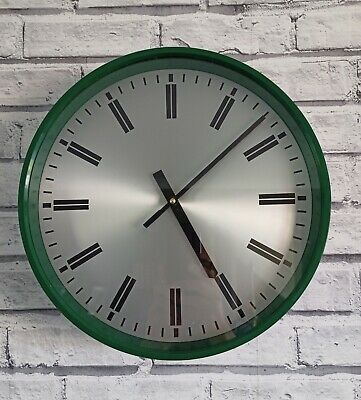 Large Vintage Green Wall Clock Designed by Robert Welch. Made by Smiths.