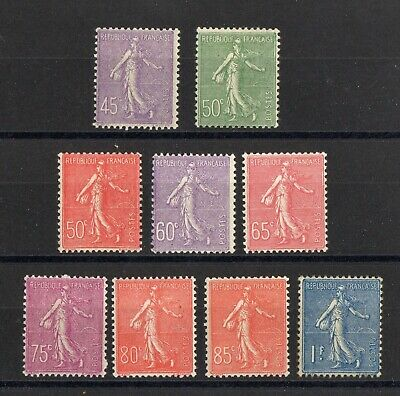 FRANCE: SERIE COMPLETE DE 9 TIMBRES TYPE SEMEUSE NEUF* N°197/205 Cote: 84,00 €