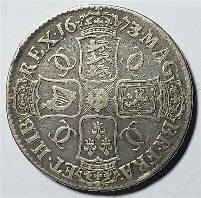 Great Britain, Crown, 1673/2, Fine, Cleaned, Charles II, Silver