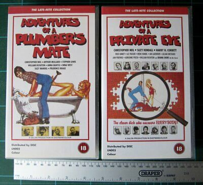 VHS Tapes UK PAL x2 - Adventures Of A Private Eye & Plumber's Mate - Pristine