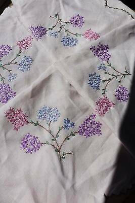 Vintage large Irish linen hand embroidered tablecloth  - Lilacs.