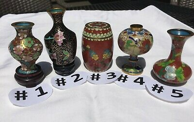 Vintage Asian CLOISONNE Collection of  5 Pieces – Handmade – All Brass/Cooper