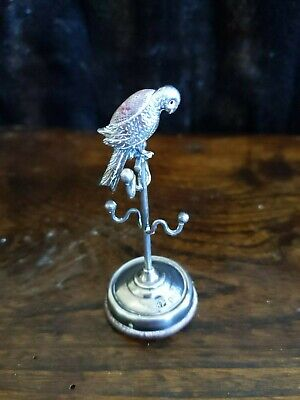 Antique Silver Novelty Parrot  Pin Cushion / Ring Stand 1912