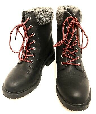 Pair Of Womens Black Luoika Faux Leather rugged Hiking Boots 9