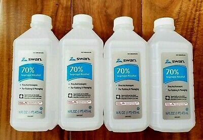 Lot of 4 Isopropyl RUBBING ALCOHOL 70% SWAN 16 oz Ea Antiseptic First Aid 3/2023