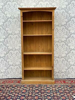 Waxed pine Victorian style tall pine bookcase in good order