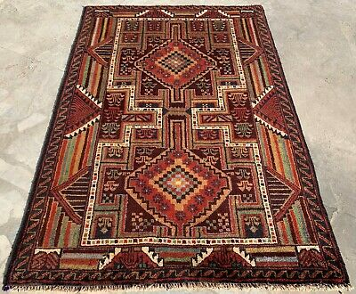 Authentic Hand Knotted Afghan Balouch Wool Area Rug 4.5 x 2.11 Ft (160 HM)