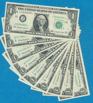 10-$1.00 1963 Star  Mixed Districts Gem New Federal Reserve Note  Dealers Lot