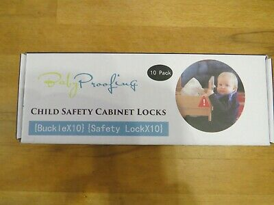Child Safety Cupboard draw Locks 10 Pack Invisible Design Adhesive Install