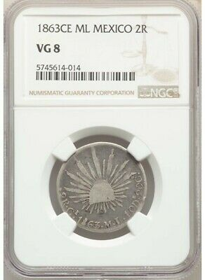 1863 CE-ML 2 Reales Real de Catorce NGC VG8 rare silver coin Mexico