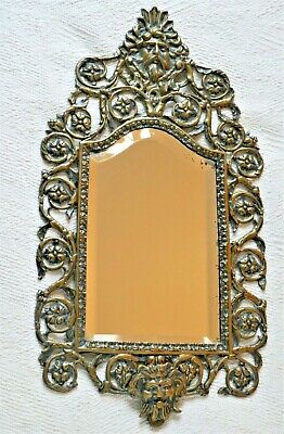 19th c. French Rococo cast brass bevelled wall mirror.