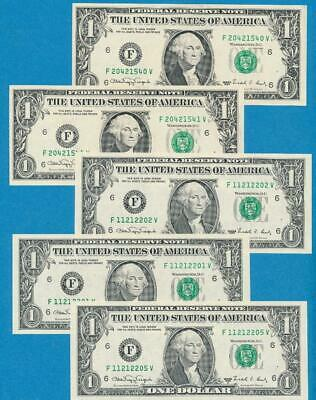 5-$1.00 1988-A  Atlanta Webs Choice/Gem New Federal Reserve Note  Dealers Lot