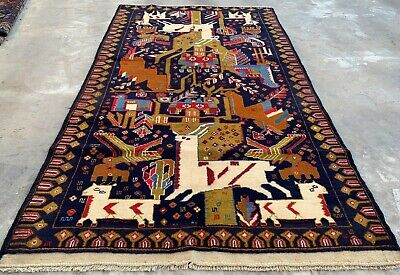 Authentic Hand Knotted Afghan Aksi Balouch Pictorial Wool Area Rug 7 x 4 Ft