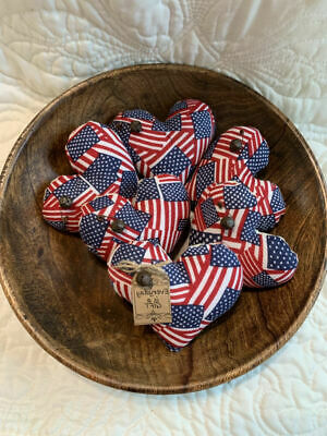 Lot of 6 Prim Americana Hearts Bowl Fillers  Rusty Bells Everyday is a Gift