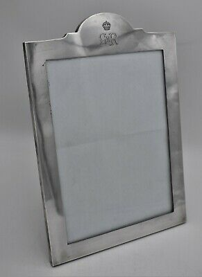 ROYAL SILVER : Large sterling photo frame. CYPHER OF KING GEORGE VI 1937